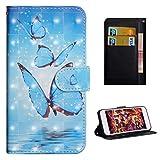 Für LG Q7/Q610EM Hülle, Premium PU Leder Schutztasche Klappetui Brieftasche Handyhülle, Standfunktion Flip Wallet Hülle Cover - DREI Schmetterlinge