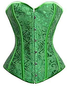 Kimring Women s Vintage Palace Jacquard Sweetheart Body Shaper Strapless Overbust Corset Green XX-Large