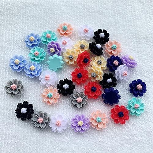 NVTHINH 50Pcs Mix Colors Flower Crafts List Cheap sale price Decoration Flatbac 1213mm