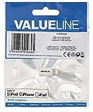 Valueline VLMP39901W - Adaptador micro USB, lightning, Blanco