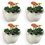 T4U Macetas Pared Plastico Cestas Colgantes - Beige Paquete de 4, Maceteros Pequeños Resina para Hierbas Flores Plantas Casa y Jardín Porche Boda Pared Decorativos Uso en Interior Exterior