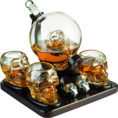 Large Skull Face Decanter with 4 Skull Shot Glasses and Beautiful Wooden Base and 4 Skull Whiskey Chillers - By The Wine Savant 750ml Decanter 4 Ounces Shot Glasses