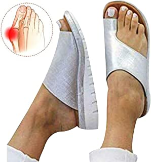 Womens Comfy Platform Bunion Correction Sandals Open Toe Orthotic Shoes Summer Leather Flip Flops Breathable Casual Beach Travel Slippers 34-43,A6,35