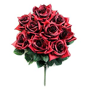 Admired By Nature 2 Artificial Full Blossoms Rose Bush – 9 Stems for Mother's Day, or Decoration for Home, Restaurant, Office & Wedding