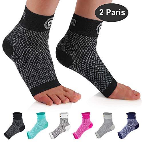CAMBIVO 2 Paar Sprunggelenk Bandage, Knöchelbandage, Fußbandage für Herren und Damen, Kompressionsstrümpfe, Kompressionssocken für Sport, Fussball, Fitness, Volleyball (Schwarz, S)