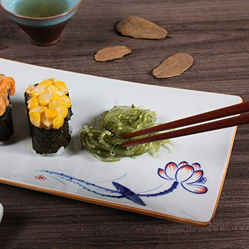 CZDXM Sushi Piatto Creativo in Porcellana Dipinto A Mano Piatto Speciale Ristorante Fiore Piatto da Dessert Pasticceria Piatto Rettangolare in Porcellana Dipinto A Mano
