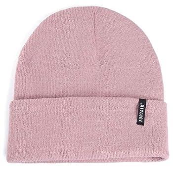 FURTALK Womens Knit Beanie Hat Acrylic Winter Hats for Women Men Soft Warm Unisex Cuffed Beanie,Pink