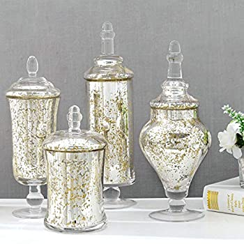 MyGift Decorative Silver Glass Mercury Antique Apothecary Storage Jars/Wedding Candy Serving Canister Containers with Lids Set of 4