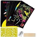 Scratch Art para Niños, Creativas Scratch Arte Paper para Juegos de Dibujo/Manualidades/Escribir, 50 Hojas Negro Manualidades Rascar Papel para Niños + 5 lápices de Madera/4 Plantillas/1 Sacapuntas
