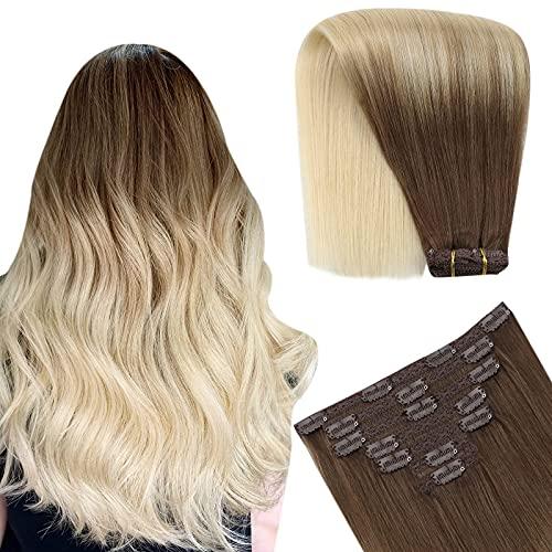 YoungSee 16 Pouces Clips Extension Cheveux Blond Ombre Balayage Brun Cendré Clair #8A Mixte Blond Platine #60 Double Trame Clips Cheveux Extension Nat