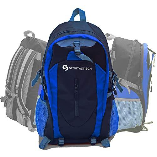 Sportastisch Top¹ Daypack für Herren und Damen, Reiserucksack zum Wandern, Gym Bag für Fitnessstudio, Schulrucksack für Business und Uni, wasserdicht und leicht (Sporty Backpack schwarz-blau)