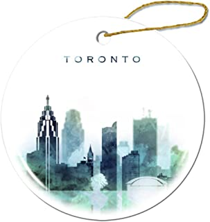Fhdang Decor Toronto Christmas Ornament Porcelain Double-Sided Ceramic Ornament,3 Inches