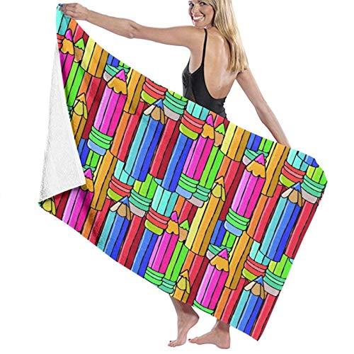 TISAGUER Toalla de baño de Microfibra Lápices de Colores Suave Absorbente Hoja de baño de para el hogar,los baños,la Piscina Toallas Baño Toalla de Playa