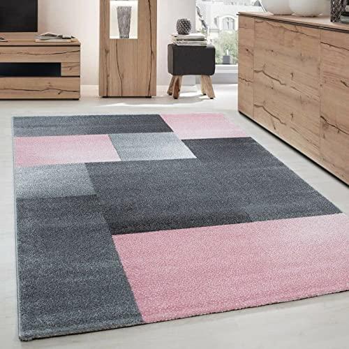 Carpettex Teppich Tapis de Salon Moderne Designe Courte Pile Optique Bloc Gris Rose - 120x170 cm