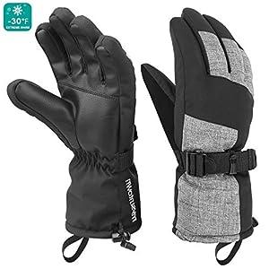 mysuntown Ski Gloves Winter Gloves for Men and Women Waterproof Gloves Cold Weather Outdoor Snowboarding Warm Glove Black