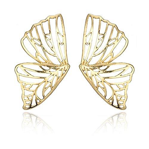 tggh Pendientes de círculo grande de Dubai Hollow Big Butterfly Stud Pendientes para mujer Metal Angel Wing Pendant Jewelry (color de metal: oro EK3079)