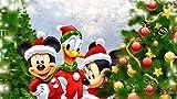 Boutiquespace - Pintura acrílica y lienzo, para adultos adolescentes, principiantes, artesanía para decoración de la pared de la vivienda - Parches de Navidad de Mickey y Donald 40 x 50 cm