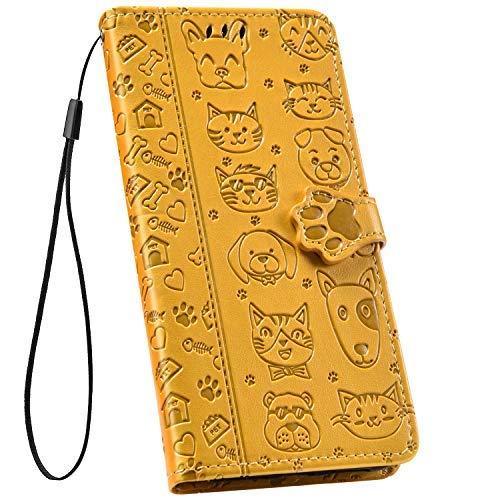 Ysimee kompatibel mit iPhone XR Hülle Handyhülle [PU Leder] [3-Kartenfächer] [Magnetverschluss] Flip Case Handy Tasche Schale Etui Schutzhülle Lederhülle Magnet Klapphülle Cover, Hund Gelb