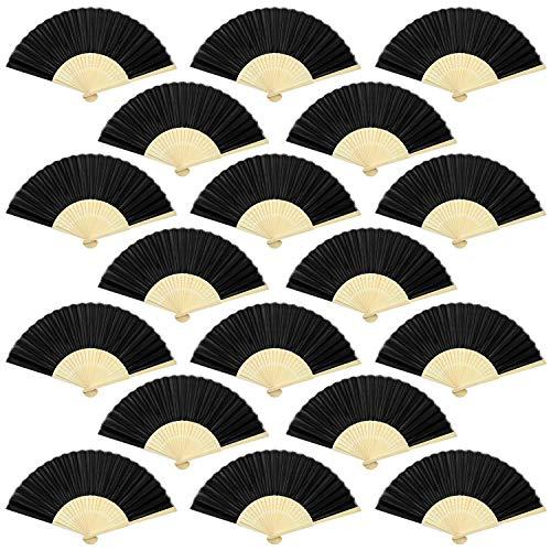 Aneco, ventagli in Tessuto di bambù, 18 Pezzi, Pieghevoli, per Decorazione di Nozze, Chiesa, Regali di Nozze, bomboniere, Decorazioni Fai da Te, Nero