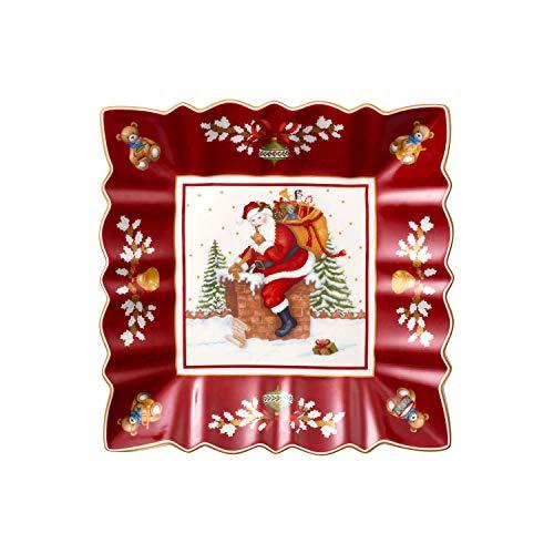 Villeroy & Boch Toy's Fantasy Schale eckig, Santa auf Dach, dekorative Schale mit weihnachtlichem Motiv, rot, bunt, 23 x 23 x 3,5 cm