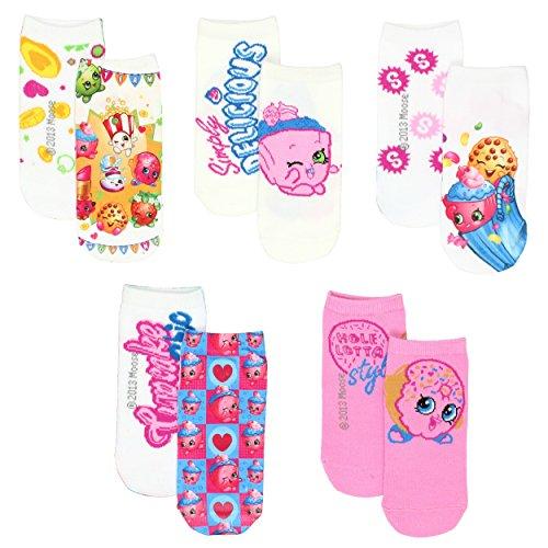 Shopkins Little Girls 5 pack Socks (Shoe Size: 10-4 (Sock: 6-8), SPK Pink)