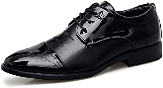 Oxfords For Men Pointed Toe Business Casual Loafers Chic Classic Lace Up Formal Slip-On Dress Shoes PU Leather Durable Abrasion Resistant` Tussy (Color : Black-Lace Up, Size : 43 EU)