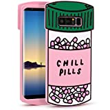 YONOCOSTA Galaxy Note 8 Cute Case, Funny 3D Cartoon Chill Pills Capsule Bottle Soft Silicone Rubber Shockproof Protective Case Cover for Girls Kids Women Lady (Pills)