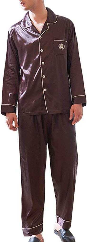 Nunubee Faux Silk Man's Pajamas Set Solid Color Long Sleeve Sleepwear Loungewear with Top & Pants/Bottoms Color As The Picture - XXXL