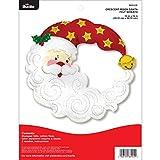 Bucilla Felt Applique Wreath Kit, 15'x15', Crescent Moon Santa