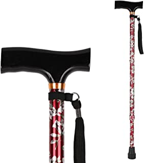 Medical Adjustable Cane for Women, LIXIANG, Lightweight Aluminum Walking Cane with Rubber Tip Base and Carrying Strap for Mother (from 28.3'' to 37.3'') Red