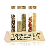 getDigital Reagenzglas Gewürzregal - Originelles Gewürz-Set mit 5 Glas-Röhrchen und Buchenholz Halter - Universal Kräuterregal im Labor-Design