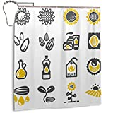 DM Maker 3D Printer Funny Sunflower Cute Icon Shower Curtain for Bathroom Decorative Quick Dry Waterproof Polyester Fabric Shower Curtain 66 X 72 Inch with 12 Hooks