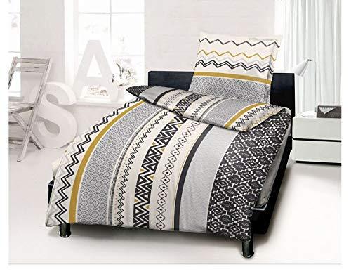 Univers Deco Complete 4-Piece Set Duvet Cover 140 x 200 cm for 90 x 190 cm Bed 100% Cotton/57 Threads/cm2 (Ochre Gobi, 4-Piece Set Duvet Cover 140 x 200 Bed 90)