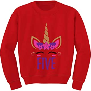 Tstars Gift for 5 Year Old Girl Unicorn 5th Birthday Youth Kids Sweatshirt