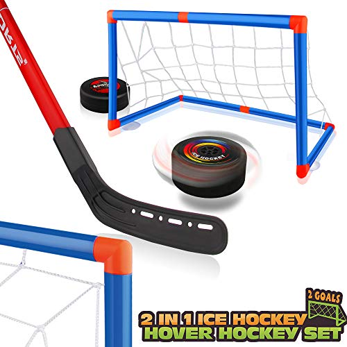 Baztoy Hover Hockey Set, Hockey Game Kids Toys with 2 Goals & 2 Hockey Sticks, Air Power Ice Hockey Ball for 3 4 5 6 7 8 9 Years Old Kids Boys Girls, Sports Training Toys Indoor Outdoor Garden Gifts
