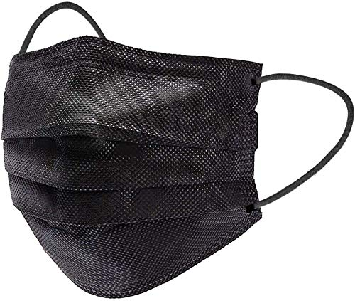 100 Pcs Black Disposable Face Mask,3-Ply Non-woven Breathable Safety Face Mask for Daily Protection