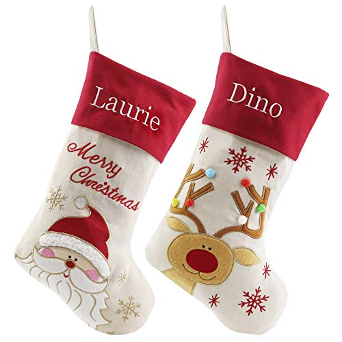 WEWILL Set of 2 Personalized Christmas Stockings Home Decorations Stockings for Family (Color 1)