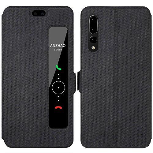 Huawei P20 Pro Custodia, Anzhao Flip Cover [Chiusura magnetica] Con Finestra [View Window] e Supporto per Huawei P20 Pro (Nero)