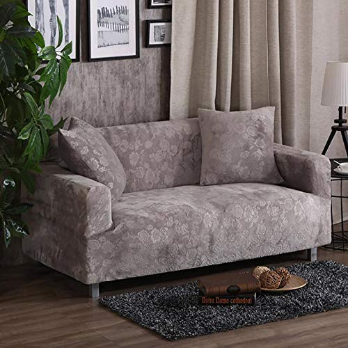 ZZFF Jacquard Stretch Sofá Slipcovers,Color Sólido Patrón Floral Couch Slipcover para Mascotas,Alto Elástico Ajuste Fácil Universal Funda para Sofá-E 2 Seater 145-185cm(57-73inch)