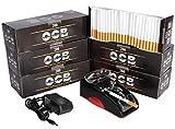 JeVx Maquina Liadora de Tabaco Electrica + 1200 Tubos con Filtro OCB Entubadora para Cigarrillos Cigarros para Fumar
