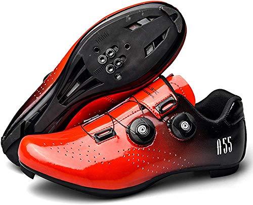JINFAN Zapatillas de Ciclismo para Hombre Zapatillas de Bicicleta de Interior Zapatillas de Bicicleta de Carretera Zapatillas de Bicicleta de Montaña,Red-UK8=(260mm)=42EU