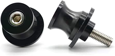 2pac M6 Motorcycle Universal Swing armSliders Spools CNC Swing Arm Stand Screw For Yamaha YZFR1/R6/R125/R6S/R25/R3/600R/ Aprilia RSV MILLE (S/R) RSV4 R Tuono and More (black)