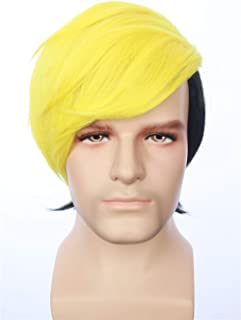 HangCosplay: Human Bill Cipher Inspired Short Straight Two Tone Layered Yellow Black Wig Anime Cosplay Halloween Costume Wig for Men and Teens