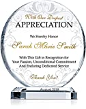 Personalized Crystal Appreciation Award Plaque, Customized with Recipient Name and Date, Unique Thank You Gift Plaque for Employee, Staff, Board Member, Doctor, Nurse (L - 8')