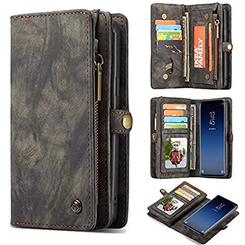 TechCode Samsung Galaxy S9 Funda, Cuero sintético Retro Vintage Smart Wallet Ranuras para Tarjetas de crédito Purse Billfold Funda Protectora para teléfono móvil Samsung Galaxy S9 5.8 Pulgadas,Gris