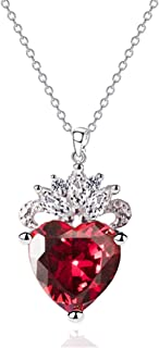 7Queen 925 Sterling Silver Queen of Hearts Evie Costume Necklace Descendants Ruby Red Heart Valentine's Day Sweetheart Gift for Her