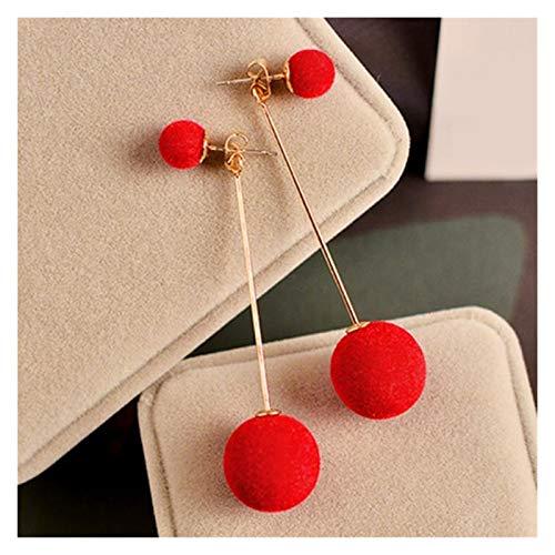 JINGGEGE 1 par Moda Bola de Pelo Artificial cuelga Pendiente para Las Mujeres Lindo Blanco pompón Pendiente niña Bonitos Regalos (Metal Color : Red)