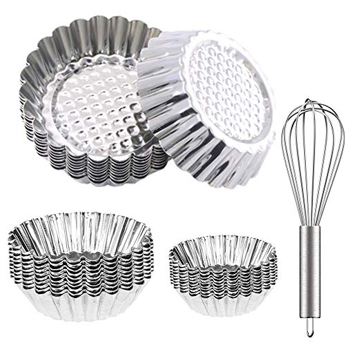 24 Pcs- Egg Tart Molds (3.07In) and(Large 3.74In)Aluminum Mini Tart Pan and 1 whisk - Tin Pan Baking Tool for Cookie, Pies, Cupcakes, Mini Cakes, Pudding, Jello