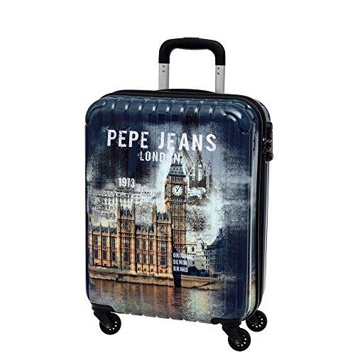 Pepe Jeans Maleta de Cabina Rígida, Diseño London, Color Azul, 38 litros