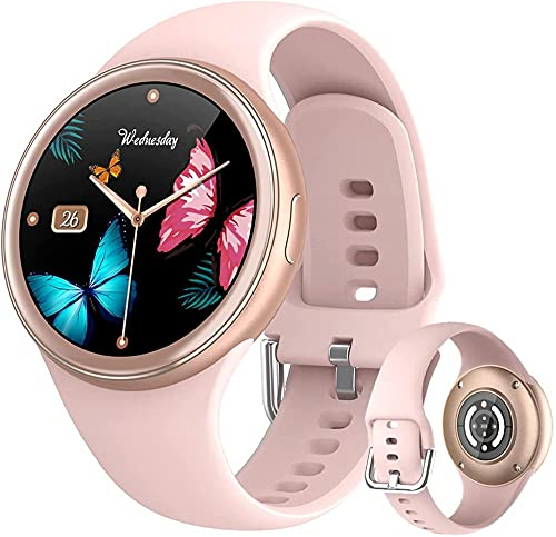 Smart Watch 1.09 Inch Full Touch Screen Heart Rate Blood Pressure Monitor Step Counter Smartwatch IP67 Waterproof Outdoor Sports Fitness Trackers-Pink
